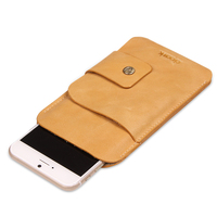Genuine Leather Phone Case Luxury Lambskin Leather Phone Pouch Camel Color Soft Leather Cover Bag For