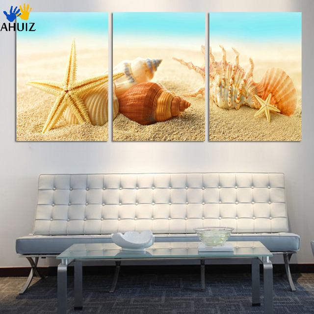HD Large Beach sea star and conch Canvas Seascapes Paintings 3 Piece ...