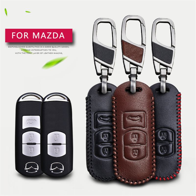 цена на 2017 New Leather Car Key Fob Case Cover For Mazda 2 3 5 6 CX5 CX-5 CX7 CX-7 RX8 MX5 CX-3 Remote 2&3 Buttons Key Chain Case