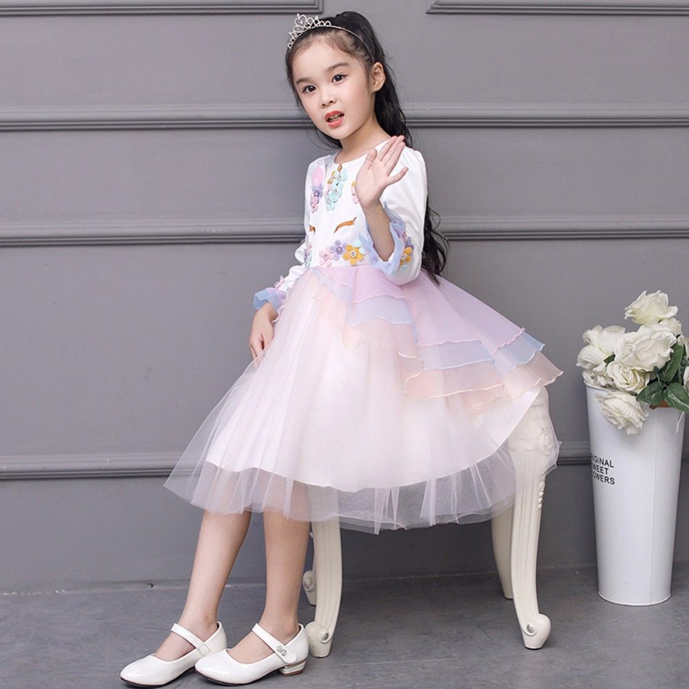 0cf158a8b9fc0 2019 Spring Flower Unicorn Dress for Girls Birthday Party Cosplay Costume  Children Kids Princess Party Tutu Tulle Girls Dress