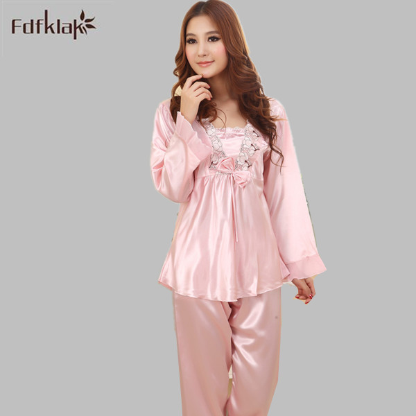 0e3ea75dba Women Ladies Sexy Lace Satin Silk Pajamas Sets Long Sleeve Tops+Pants  Sleepwear Nightwear Pyjama Femme Plus Size M-XXL E1073
