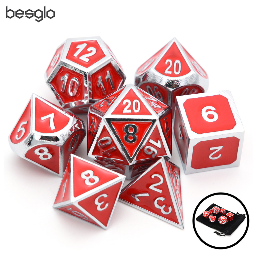 7pcs/set Silver With Red Enamel Metal Dice With Drawstring Pouch For RPG DnD Pathfinder Board Games