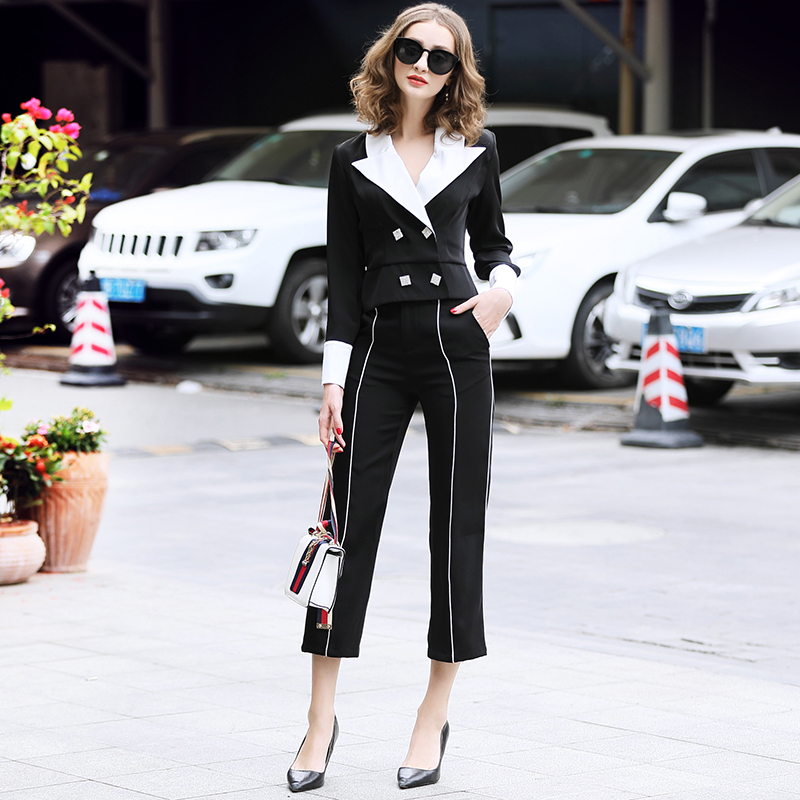 family RMOJUL temperament of the new spring dress 2019 OL bump color suit jacket + 9 minutes of pants fashion set 37
