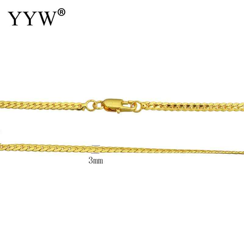 Wholesale Fashion 24k Gold-Color Plated Brass Chain Necklace For Men Women Curb Chains Brass for Jewelry Making DIY Men's Gift