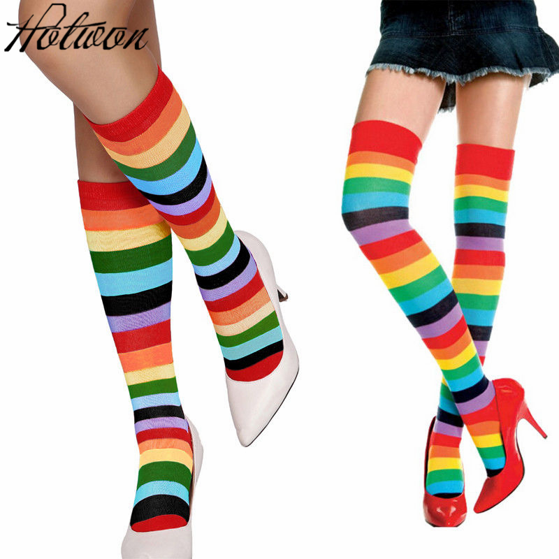 Women Stockings Cotton Thigh High Mixed Colored Rainbow Striped Long Stockings Knitted Girls Ladies Over The Knee Socks