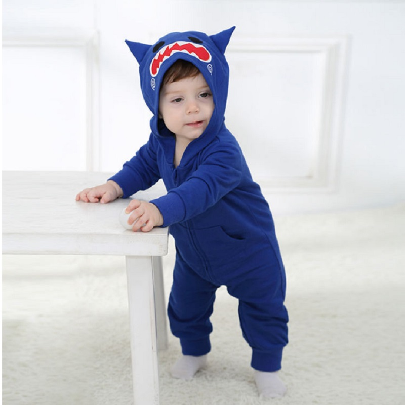 Androktones 2018 Spring Newborn Infant Baby Clothes Pure Cotton Blue Romper Hooded Jumpsuit Robot Onesie Cosplay Boys Costume