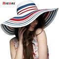 Новая Женская повседневная Большой Пляж Шляпа Женщин Летом 2016 Полосы Туризм Дамы Шляпы От Солнца, УФ-Защитой Козырьки Chapeu Feminino