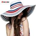 Casual New Fashion Ladies Big Beach Hat Women Summer 2016 Stripe Tourism Ladies Sun Hats UV Protection Visors Chapeu Feminino