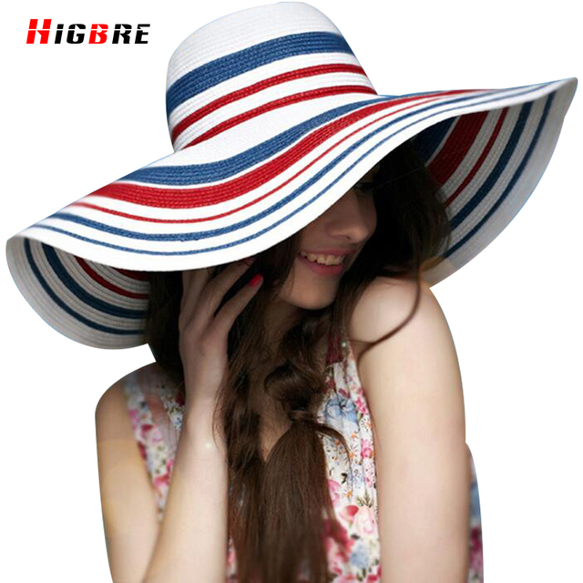 Casual Señoras De La Manera Grande Sombrero de La Playa Del Verano de Las Mujeres 2016 de La Raya de Turismo Señoras Sombreros de Sun Protección UV Viseras Chapéu Feminino
