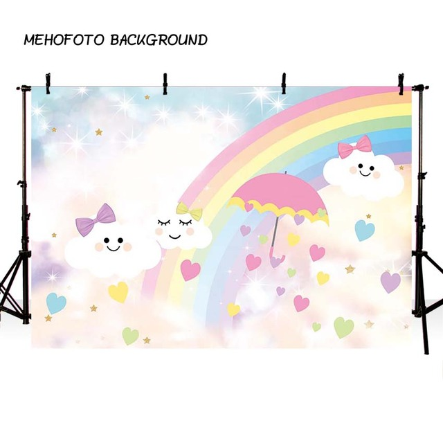 Photography background cartoon blue sky white cloud umbrella rainbow baby show birthday theme backdrop professional photo studio