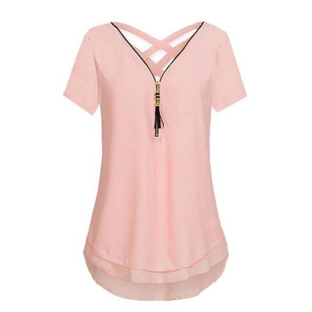 3f62fd4a792ffe Plus Size 5XL Women S Summer Loose Tops Short Sleeve Shirt Casual Blouse  Fashion Zipper V-Neck Chiffon Blusas WS8499X