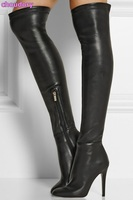 Women Chic Black Leather Stiletto Heels Thigh High Boots European Stylish Sexy Zipper Boots Concise Design