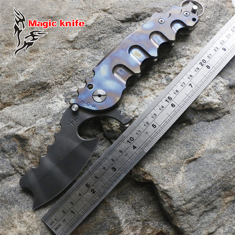 Magic Chav Custom Large steel ball bearing Folding Knife Titanium Camping Hunting Survival Knives Outdoor EDC Tools man of war high quality army survival knife high hardness wilderness knives essential self defense camping knife hunting outdoor tools edc