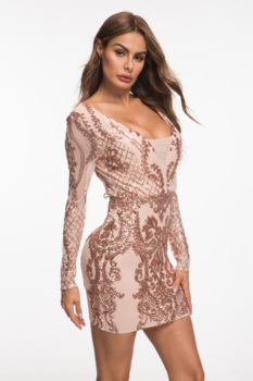 Evnora babe 2019 new style sequin long sleeve short dress party dress 6