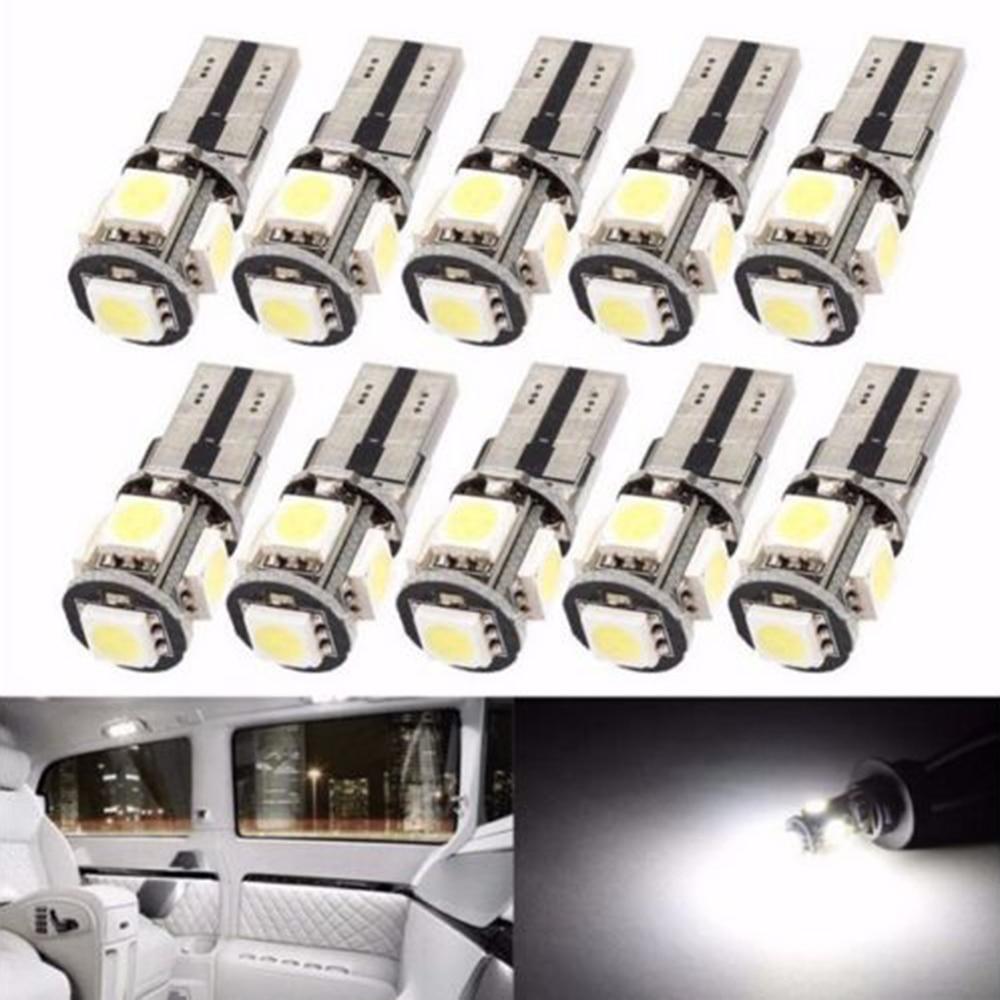 50pcs/lot Error Free T10 W5W Canbus 194 5050 5 SMD 5 LED no error free White Light Bulbs