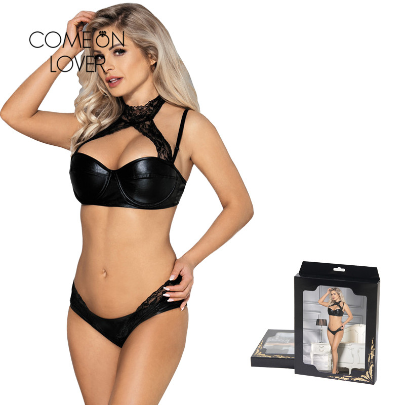 Wet Look Women's Intimates PU Leather Underwear Women Set Black 5XL Half Cup 3 Pieces Sexy Bra and Panty Sets With Lace G-String