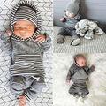 Bebé recién nacido Niños Niño Niña 2 unids Ropa Otoño Invierno Traje gris Con Capucha de Manga Larga Superior Con Bolsillo + Pantalones Largos Trajes conjunto