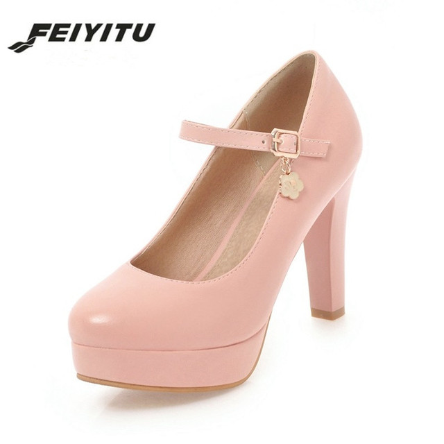 Feiyitu 2018 Platform Round Toe Buckle Strap Women Shoes Sexy High Heels  Office Lady Dating Party Wedding Pumps Woman Footwear 29a68710b7d6