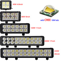 High Quality Dual Row Straight Off RoadLed Light Bar 40w 80w 120w 200w 240w 4 6