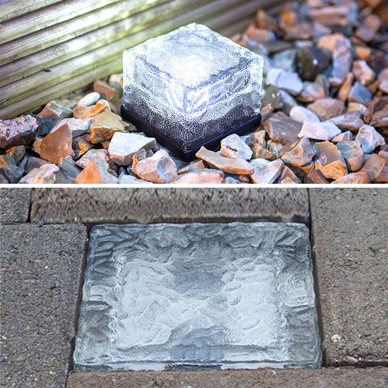 NEW LED Underground Lamp Deck Light White Solar Garden Light Brick Ice Cube Path Recessed Led Floor Light Free Shipping