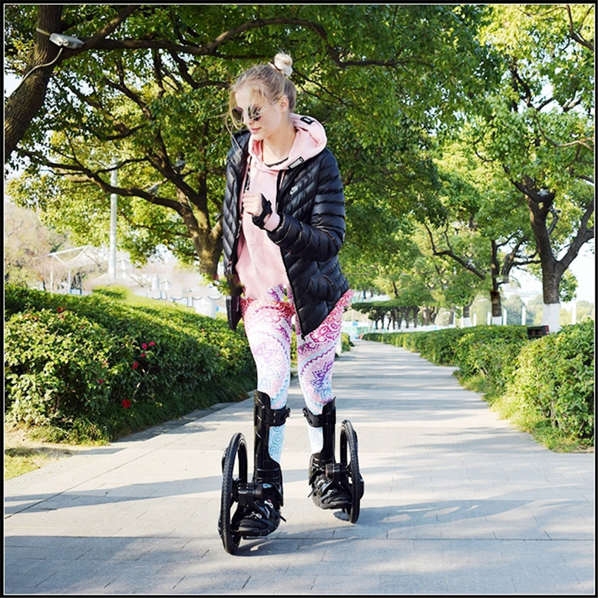 Outdoor Sport Street Slip Rubber Roller Skate 16 Inch 2 Big Wheels Inline Skating Shoes Size 34-43cm Freeline Skateboard TF-02