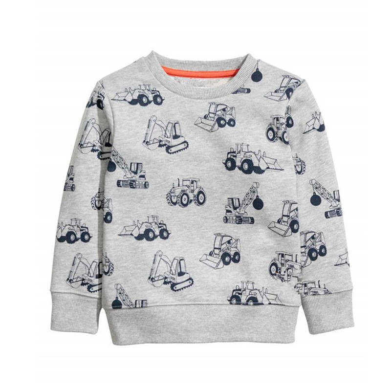 New boys long sleeve Sweater kids new designed Clothes printed cartoon Forklift boys girls Spring sweatershirts Jumping brand