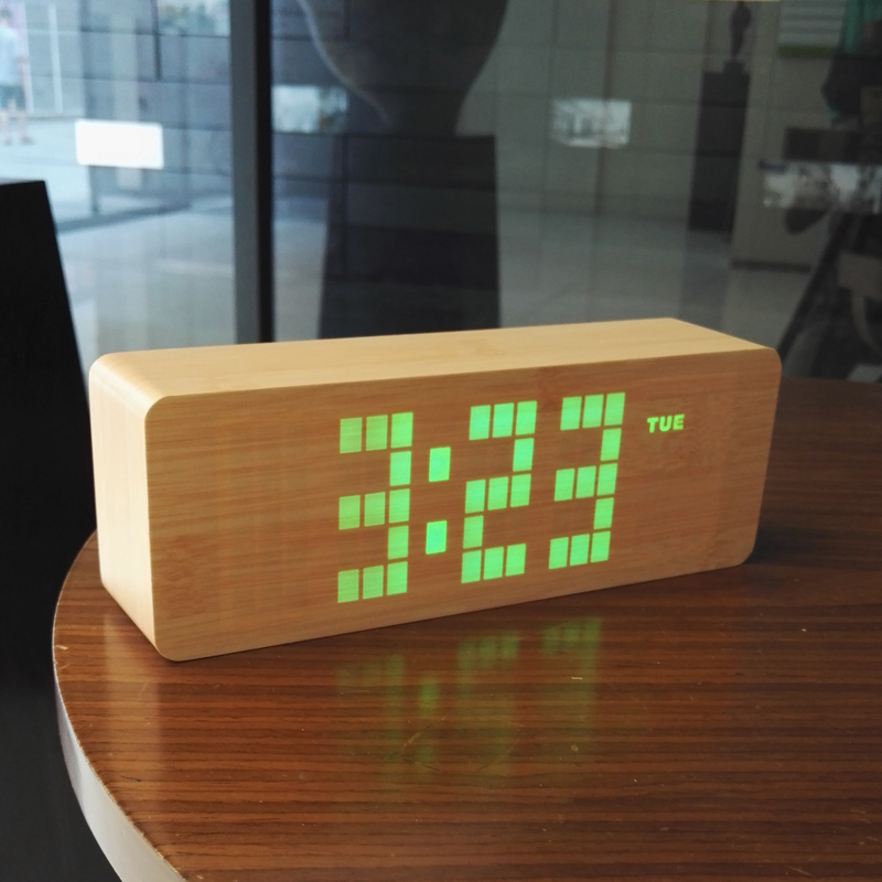 Classic pastoral wooden clocks fashion sound control function Wood molding LED Clock Brief office Alarm clocks