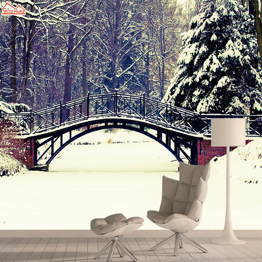 Wall Paper Papers Home Decor 3d Wallpaper Mural Wallpapers For Living Room Bridge Winter Snowy Park Peel And Stick Walls Rolls