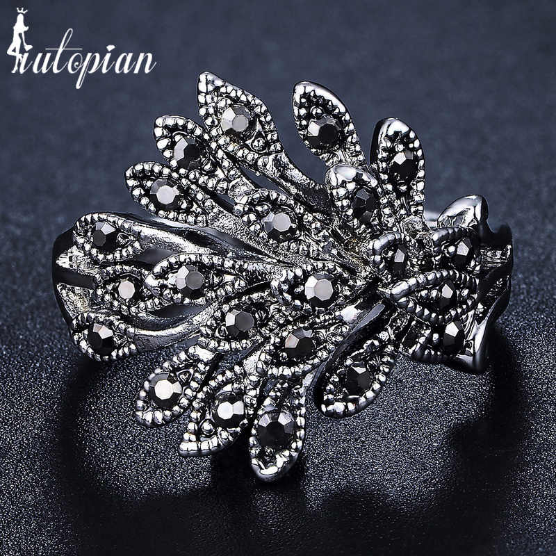 Iutopian ยี่ห้อใหม่มาถึง 4 สี Vintage Retro Phoenix Feathers แหวน Rhinestone Anti Allergy สำหรับผู้หญิง 1 # G2209green