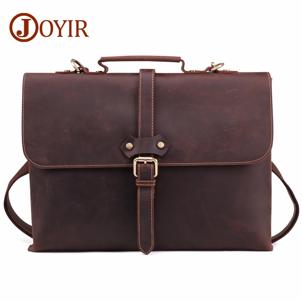 JOYIR Vintage Men's Briefcase Crazy Horse Leather Genuine Laptop Handbag Totes Business Men Messenger Bags Leather Laptop Bag joyir genuine leather men briefcase bag handbag male office bags for men crazy horse leather laptop bag briefcase messenger bag