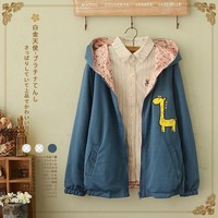 2016 New Arrivals Woman Long Sleeve Hooded Jacket Casual Loose Coat Solid Color Giraffe Patches Mori