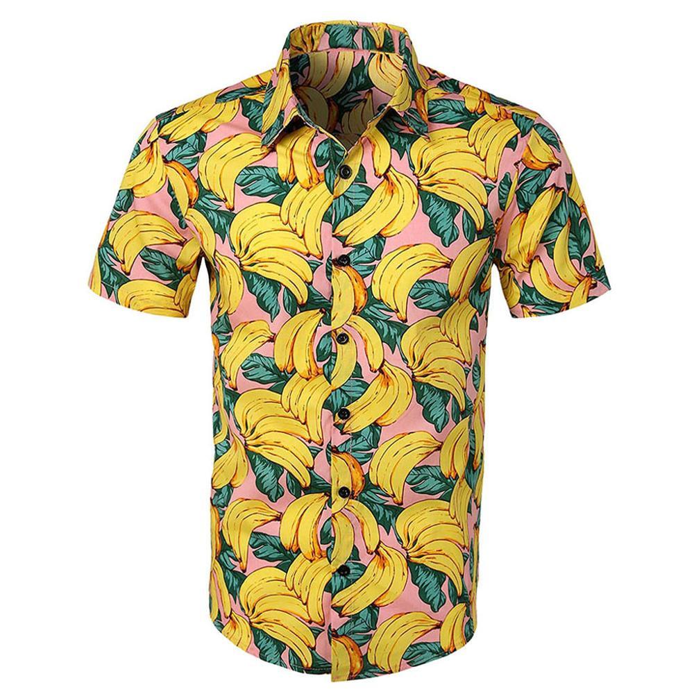 Men Casual Printed Button Down Short Sleeve Shirt Hawaiian Top Blouse   Polo   Shirt Men's Short Sleeve Slim Fit Tops