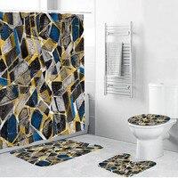 4Pcs Bath Mat Set Bathroom Mat Set Contour Rug Toilet Lid Cover Non Slip Toilet Polyester Cover Mat Set Bathroom Shower Curtain