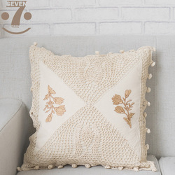 1 sztuk śliczne kolor beżowy szydełkowane czystej bawełny geometryczny patchwork haftowane 45x45cm kwadratowa poduszka pokrywa