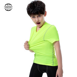 Yuerlian New Quick Dry Tights Kids Costume Fitness Sportswear Short Children Jersey Running Shirt Boys And Girls Gym T-Shirt