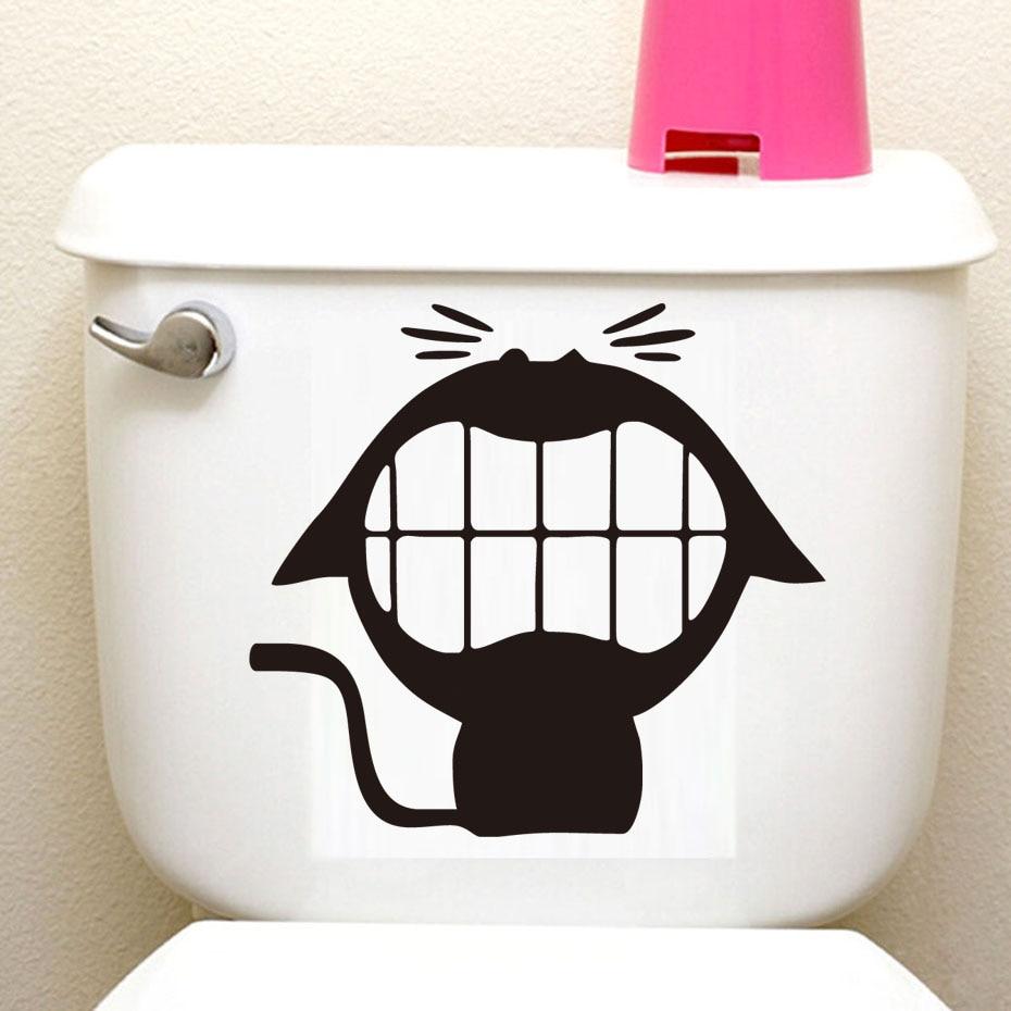 Big Mouth Cartoon Doggy Toilet Sticker Vinyl Diy adesivos de parades Waterproof Self Adhesive Wallpaper Bathroom Office Decals