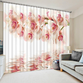 Fashion 3D Home Decor Beautiful pink flower 3D Window Curtains For Bedding room Curtains for living room