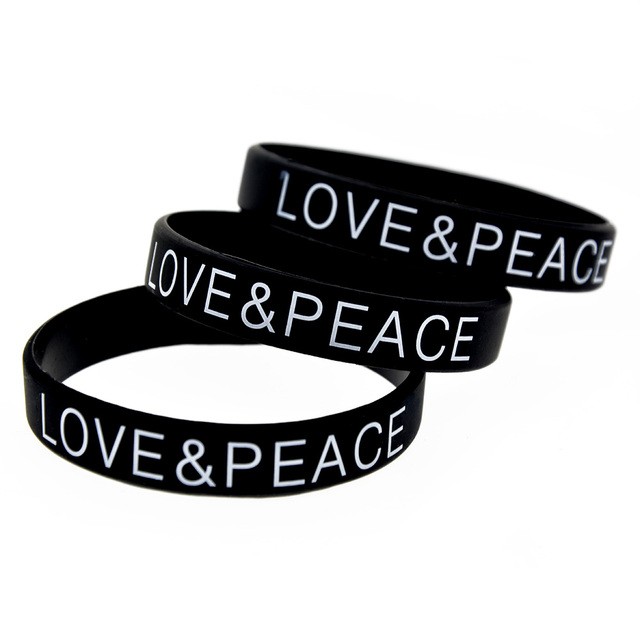 Onebandahouse 1pc Love And Peace Silicone Wristband Printed Logo Bracelet