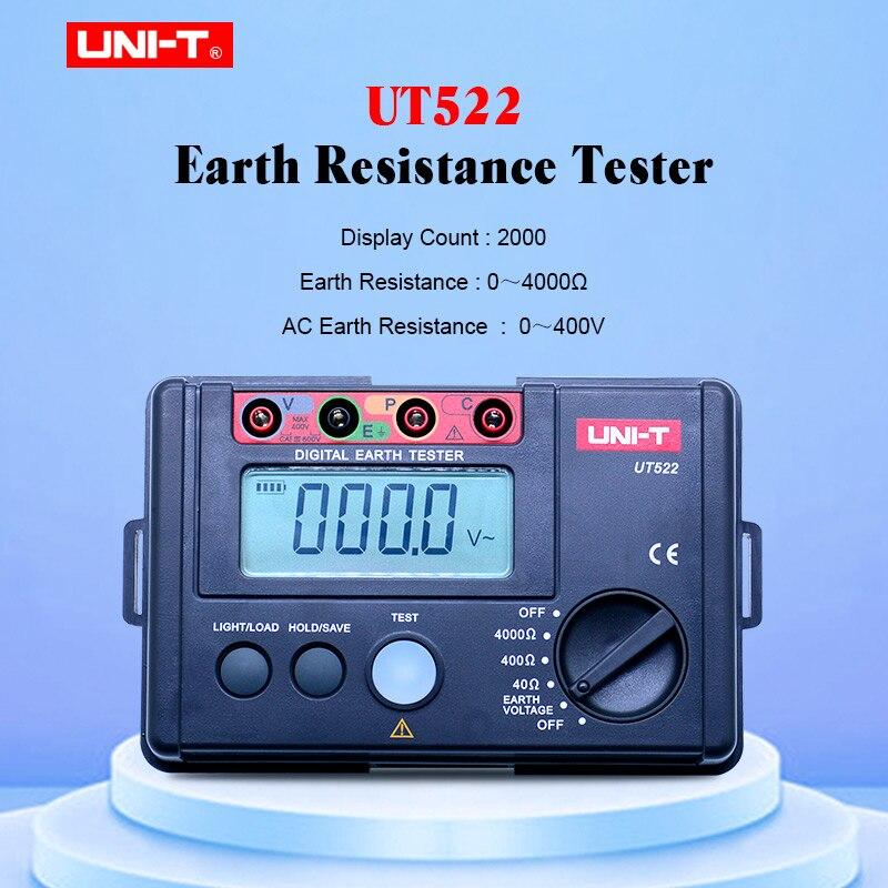 UNI-T UT522 compteur de terre numérique 0-400 V 0-4000 ohm testeur de résistance à l'isolation ca avec maintien des données et écran lcd rétro-éclairage