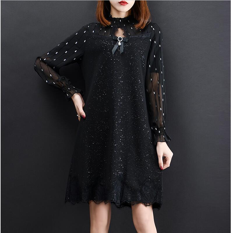 Maille mousseline de soie chemise de fond mode 2019 printemps nouveau femmes hauts et chemisiers grande taille XL-5XL chemise longue en dentelle