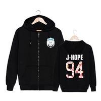 Youpop KPOP Korean BTS 2th Album WINGS Bangtan Boys HipHop Monster Cotton Zipper Hoodies Clothes Zip