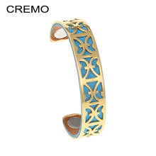 ФОТО cremo aries stainless steel bangles bracelet gold bijoux femme manchette interchangeable reversible leather arm cuff bangles