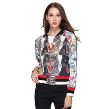 Floral Bomber Jacket Women Spring Embroidered Print Tiger Thick Long Sleeve Sequin Zipper Boho Chic Zipper Brand Streetwear Coat