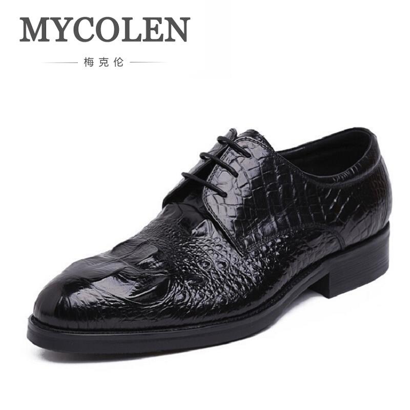 MYCOLEN Hot Sale Crocodile Pattern Genuine Leather Men Oxfords Shoes Men Dress Shoes Business Men's Shoes Erkek Ayakkabi