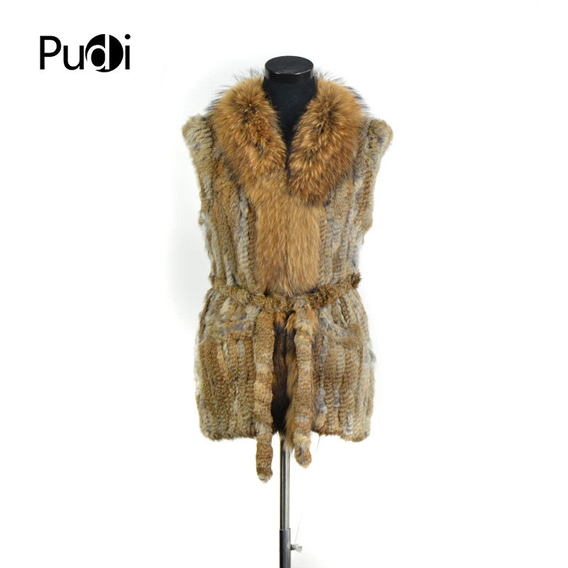 Attivo Vr082 Nuove Donne Genuino Reale Del Coniglio Naturale Gilet Di Pelliccia Con Raccoon Fur Collar Gilet/giacche Lunghe Cintura