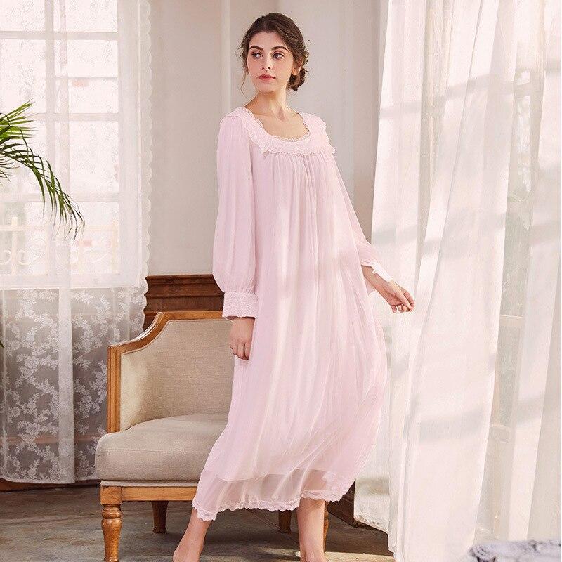 Plus Size Women Long Sleepwear Romantic Nightdress Long Sleeve ...