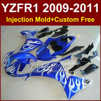 White flame Motorcycle parts for YAMAHA fairings YZF R1 09 10 11 12 R1 blue bodyworks YZF1000 R1 +7Gifts YZF R1 2009 2010 2011