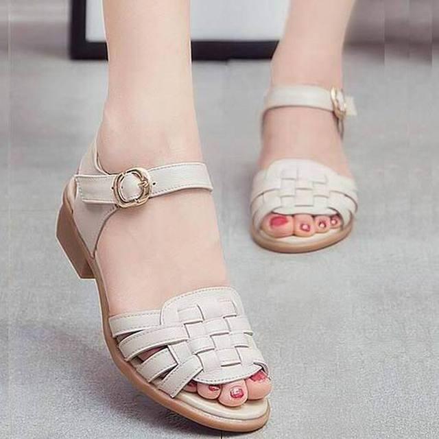 cc8b3f81b5d Mulheres verão Sandálias Handmade Bom Comfortabl Sandalias Femininas  Sapatos Casuais Sapatos de Couro Genuíno Das Mulheres