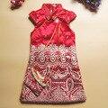 Saco como o presente! estilo tradicional Chinês Qipao Cheongsam Traje vestido de festa acolchoado colete princesa vestido de inverno roupa de crianças