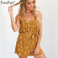 ForeFair Summer Floral Print Ruffles Sexy Romper With Sashes Bohemian Sling Casual Beach Bodysuit Women Linen